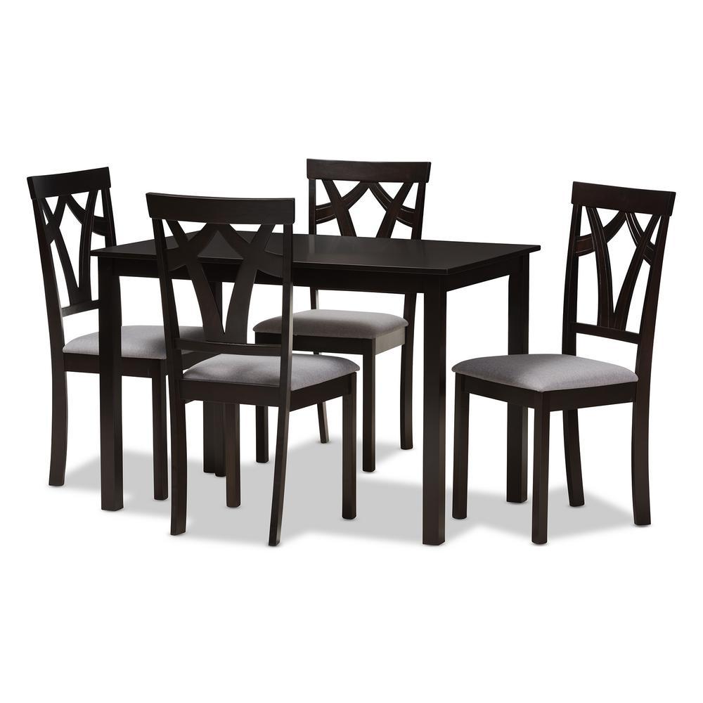 Sylvia 5-Piece Grey and Dark Brown Dining Set