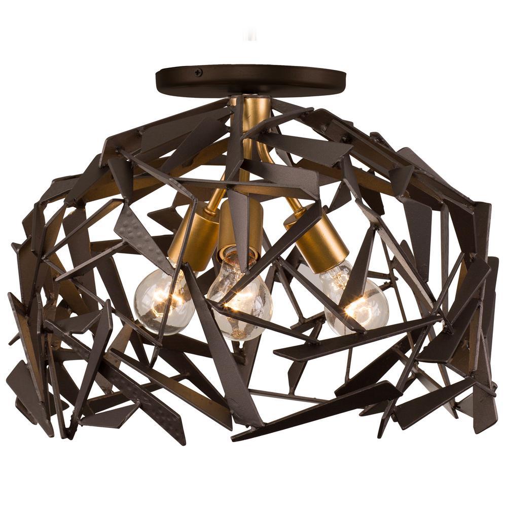 Bermuda 3-Light Antique Gold with Rustic Bronze Semi-Flushmount Light