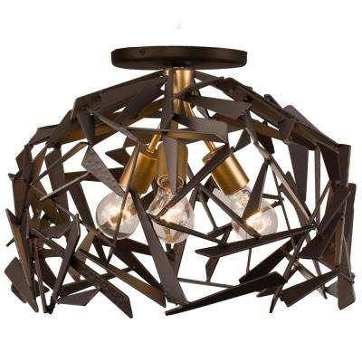 Bermuda 3-Light Antique Gold with Rustic Bronze Semi-Flushmount Light