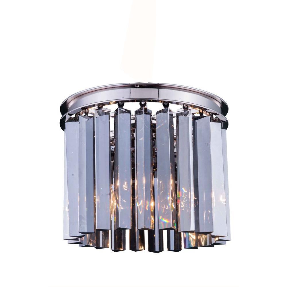 Elegant Lighting Sydney 3-Light Polished Nickel Flushmount with Silver Shade Grey Crystal