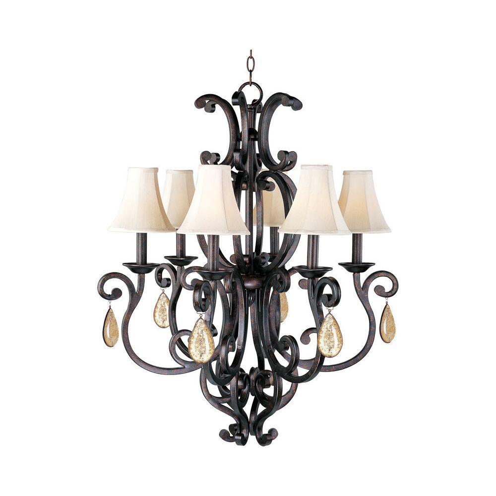 Richmond Colonial 6-Light Umber Single-Tier Chandelier  sc 1 st  Home Depot & Maxim Lighting - Mediterranean - Crystal - Chandeliers - Lighting ...