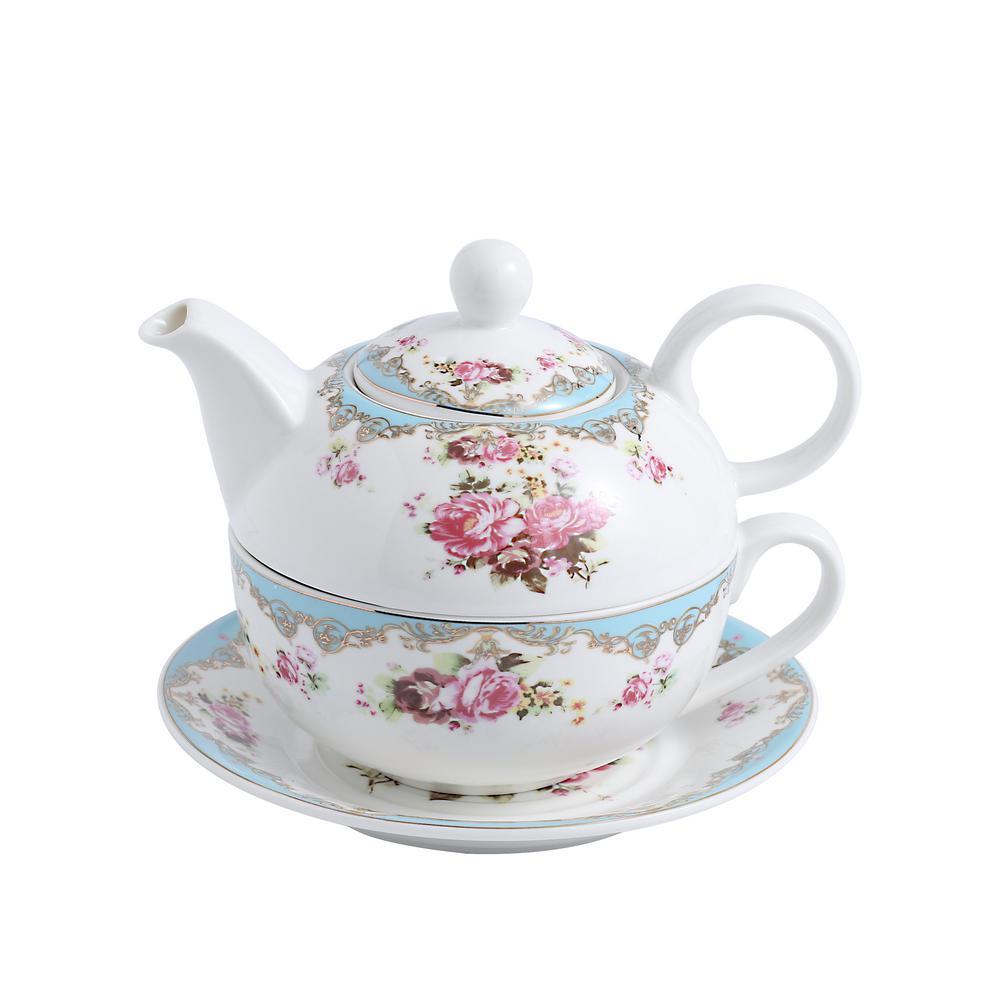 Porcelain Tea Pot Set for One 11 Ounce Teapot 1 Piece Teacup and Saucer Set