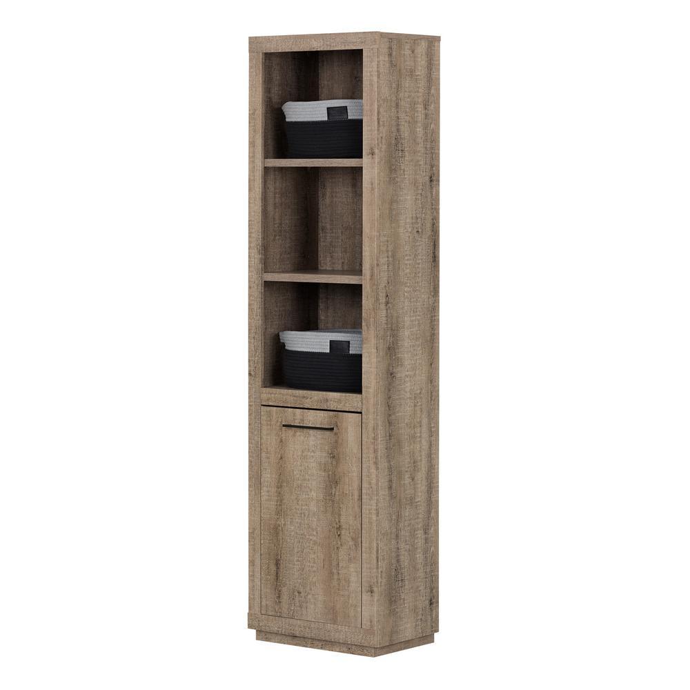 Kanji Weathered Oak Bookcase with Baskets