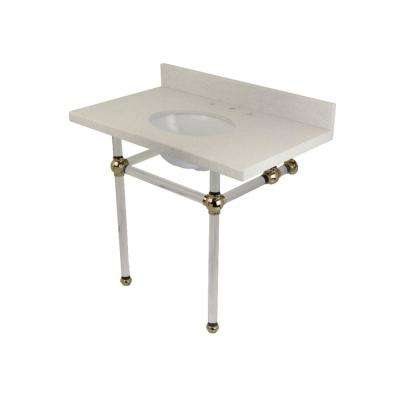 Washstand 36 in. Console Table in White Quartz with Acrylic Legs in Polished Nickel
