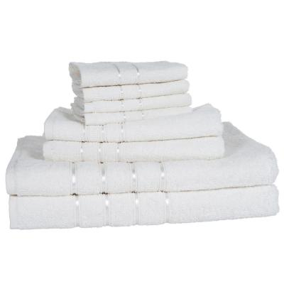 100% Cotton Bath Towel Set in White (8-Piece)