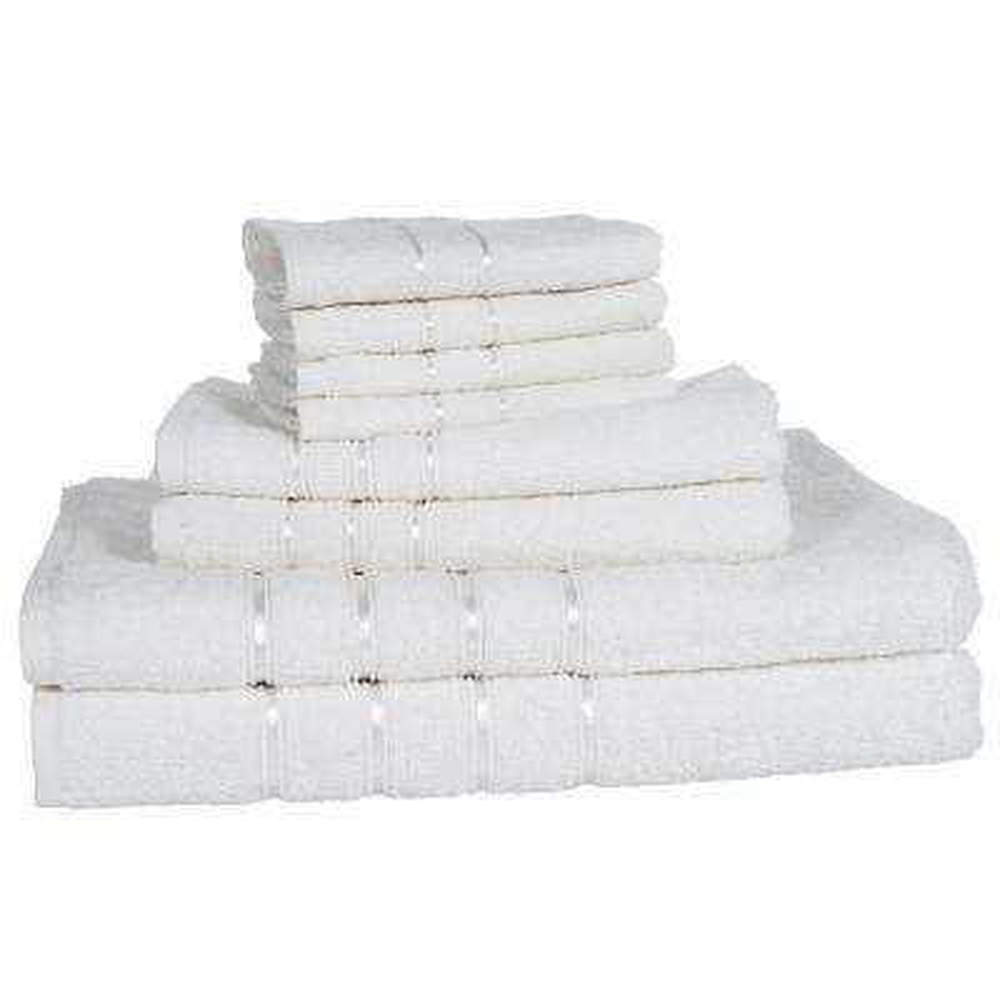 100% Cotton Bath Towel Set in White (8-Piece)