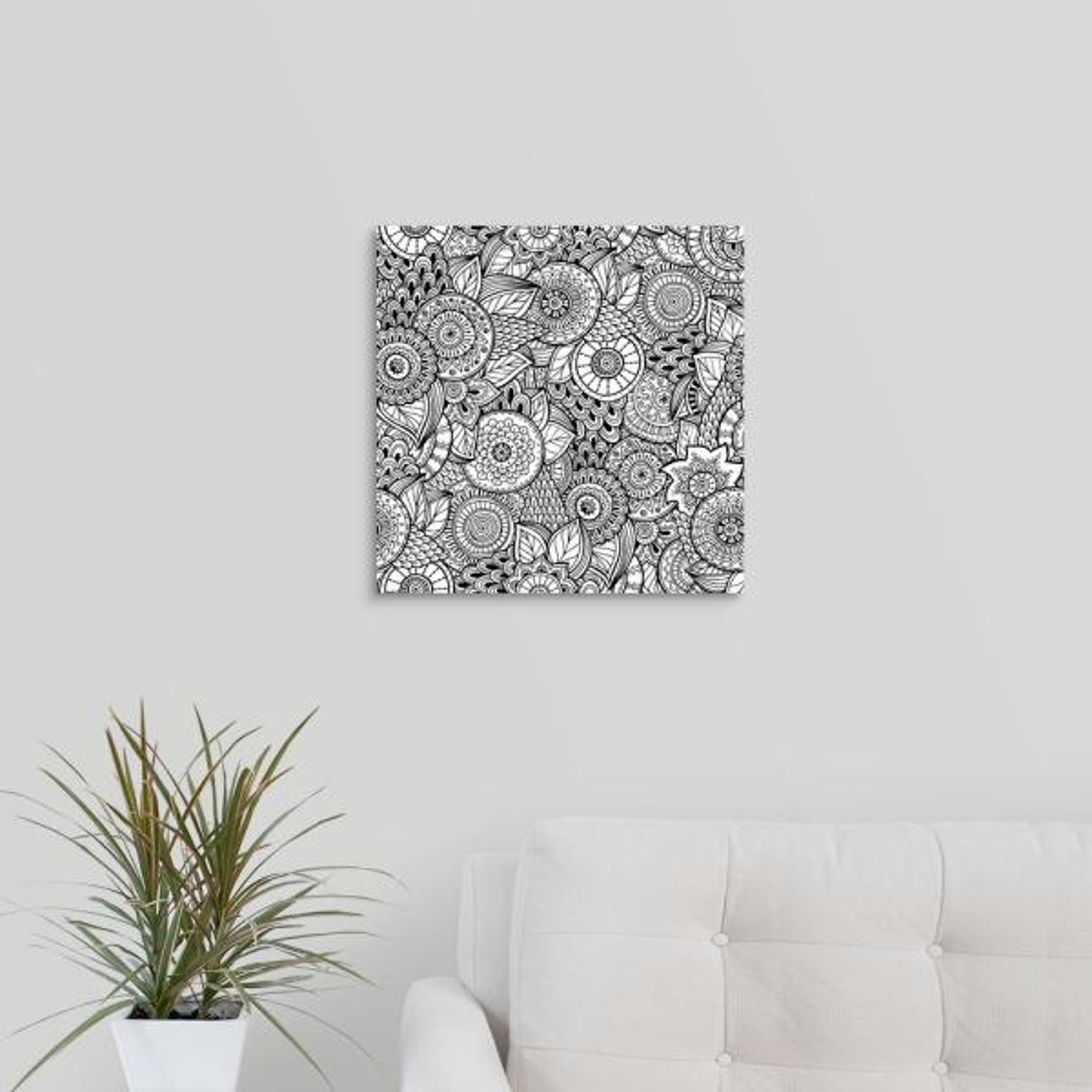 GreatBigCanvas ''Flowers and Swirls III'' by Julia Snegireva Canvas Wall Art