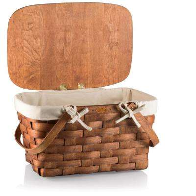 Prairie Natural Wood Picnic Basket with Liner