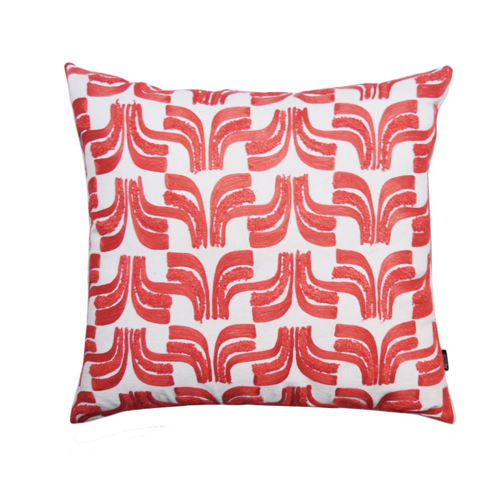 A1hc Geometric Embroidered 20 In Decorative Down Filled Throw Pillow