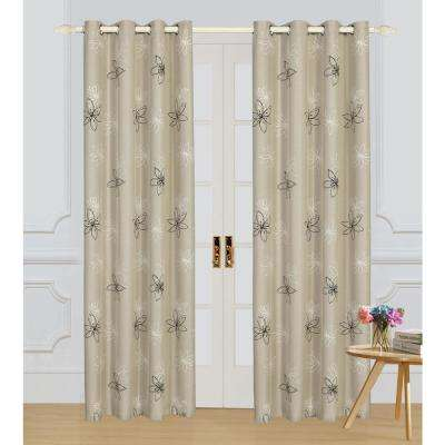 Crawford 63 in. L x 54 in. W Floral Print Polyester Curtain in Nature