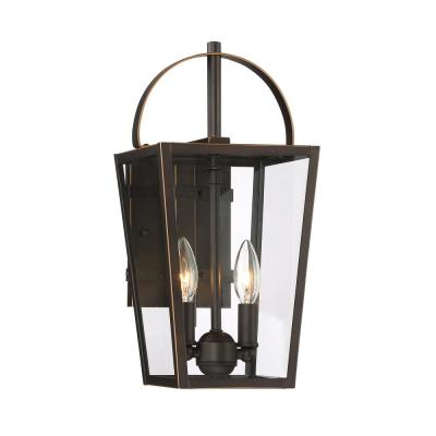 Rangeline Large 2-Light Oil Bronze with Gold Highlights Outdoor Wall Mount Lantern