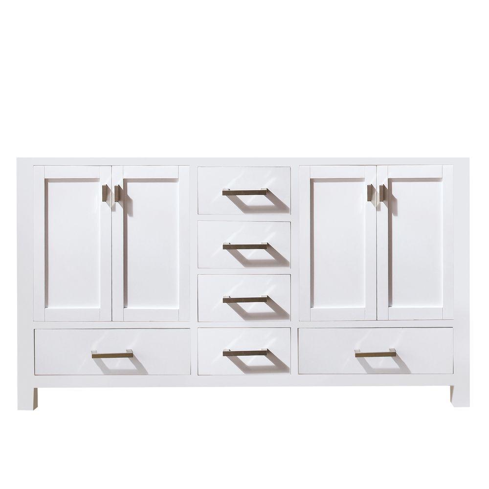 Modero 72 in. W x 21 in. D x 34 in. H Vanity Cabinet in White