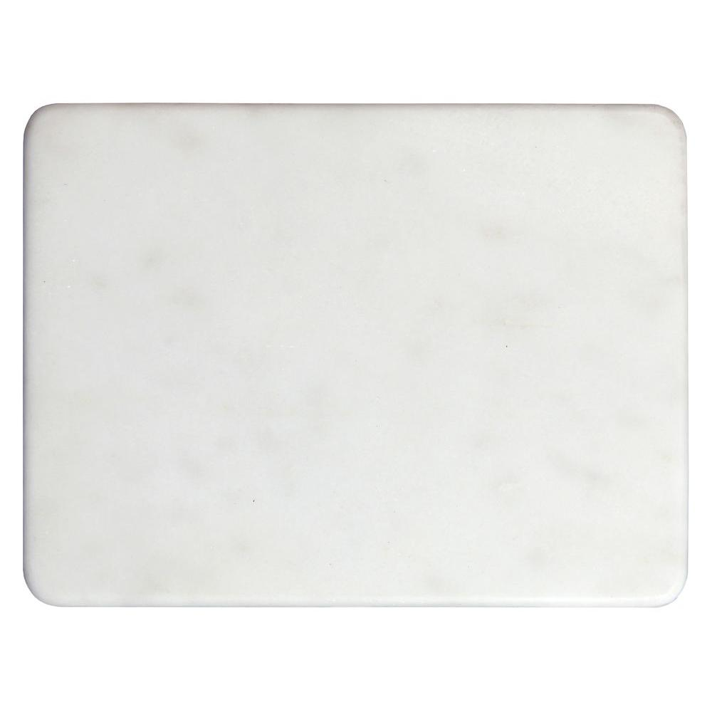 White 12 in. x 9 in. Polished Marble Cheese and Pastry