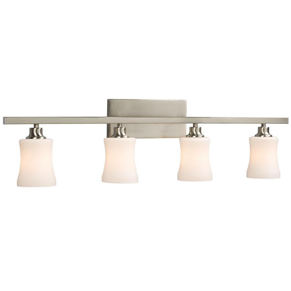 Filament Design Negron 4-Light Brushed Nickel Incandescent Bath Vanity Light