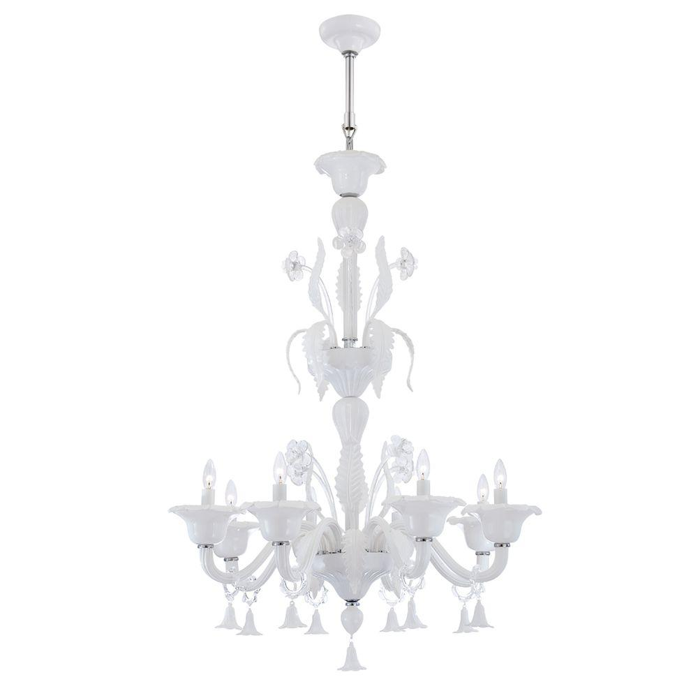 Eurofase Veronica Collection 8-Light Milky White/Clear Chandelier
