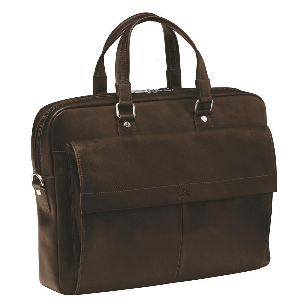Slim Brown Briefcase for 12 in. Laptop/Tablet