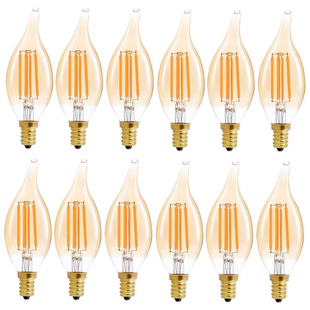 40-Watt Equivalent B11 Dimmable Flame Tip Filament Glass LED Light Bulb Amber (12-Pack)