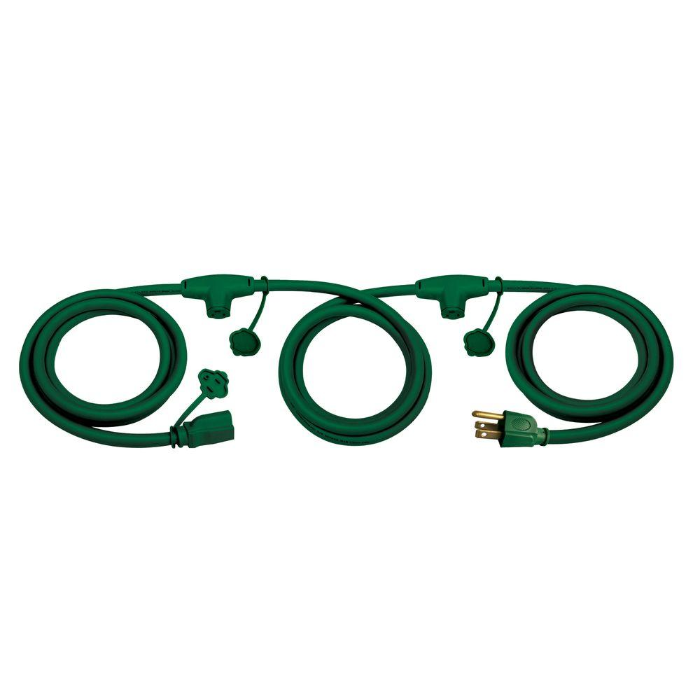 25 ft. 14/3 3-Inline Outlet Indoor/Outdoor Extension Cord, Green