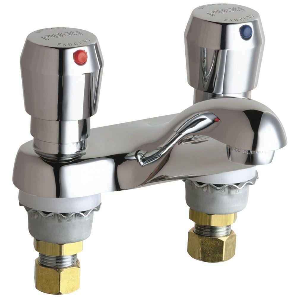 Hot and cold water faucet for outdoor sink - Chicago Faucets Hot And Cold Water Vandal Proof Mvp Metering Sink Faucet In Chrome 802 665abcp The Home Depot