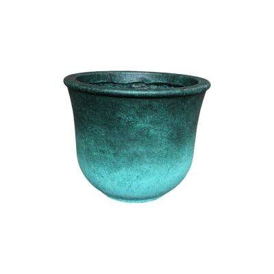Small 9.8 in. Tall Green Lightweight Concrete Modern Vibrant Ombre Round Planter