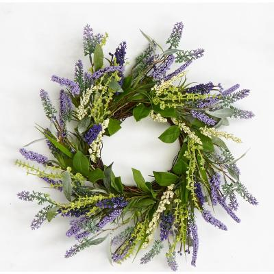 14 in. Lavender Wreath with Leaves On Twig Base