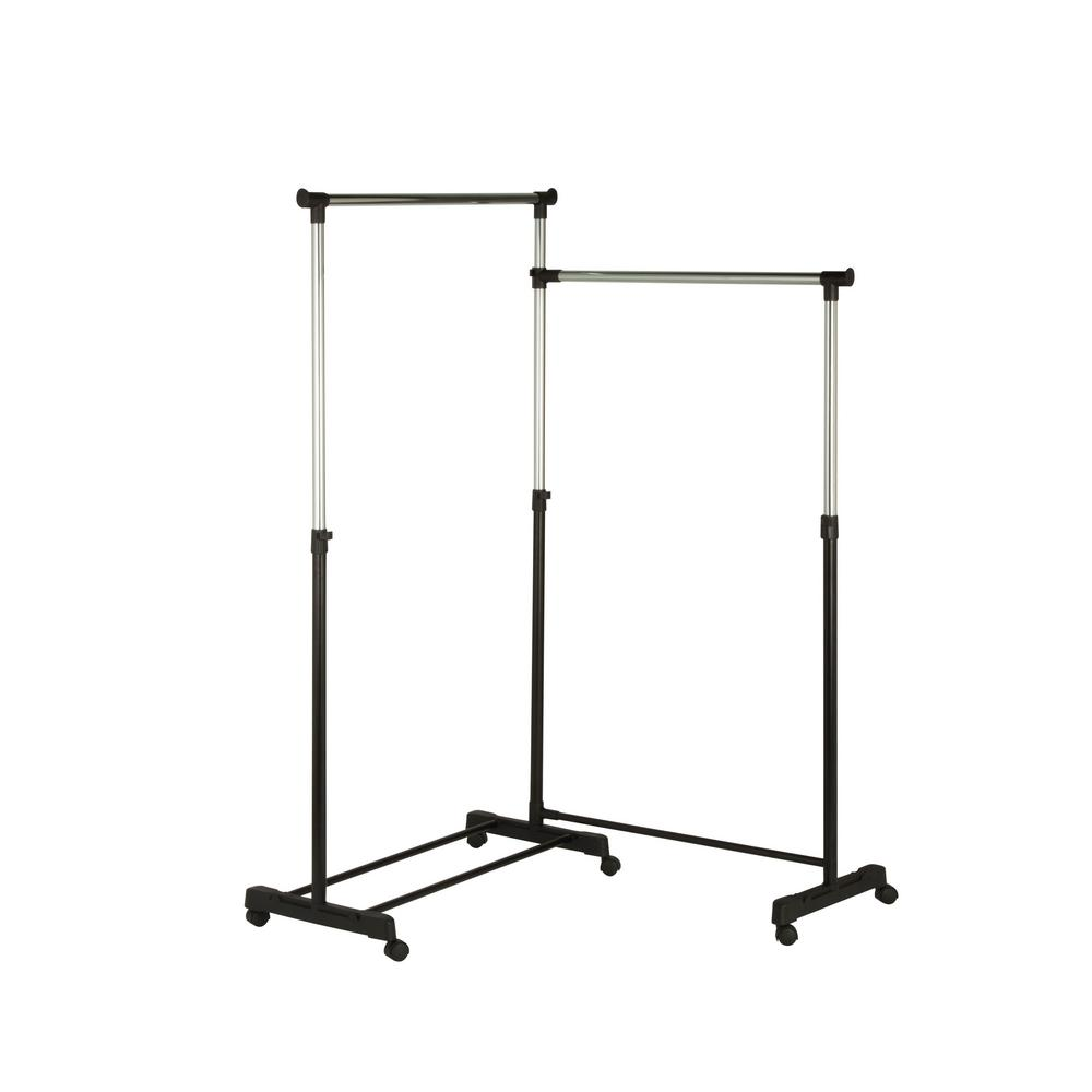 Honey-Can-Do 63.5 in. x 63 in. Adjustable Dual Bar Corner Steel Garment Rack Wheeled in Chrome