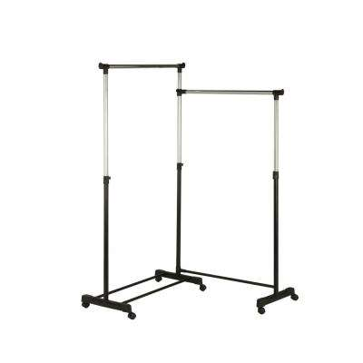63.5 in. W x 16.93 D x 63 in. H Adjustable Dual Bar Corner Steel Garment Rack, Wheeled in Chrome