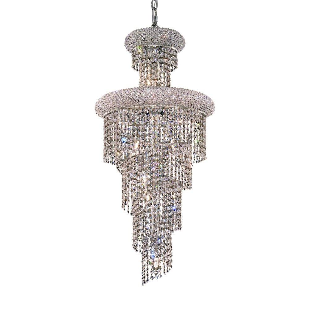 Elegant Lighting 10-Light Chrome Chandeliers with Clear Crystal