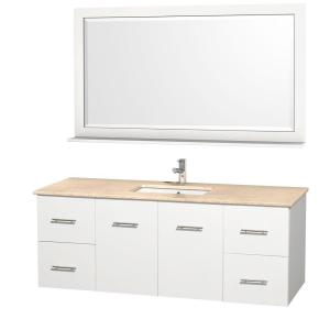 Wyndham Collection Centra 60 inch Vanity in White with Marble Vanity Top in Ivory and Under-Mount Sink by Wyndham Collection