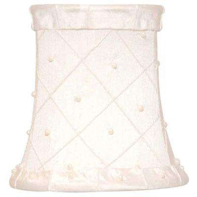 Small Stretch Bell Cream Dupione Silk Chandelier Shade with Handsewn Pearls