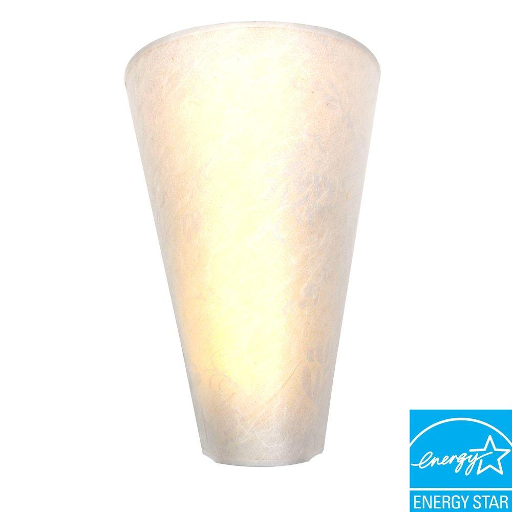 It's Exciting Lighting 3-LED Wall Mount Moire Pattern Fabric Shade Battery Operated Sconce