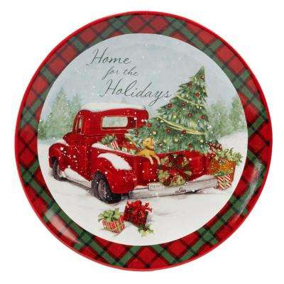 Home For Christmas Earthenware Round Platter