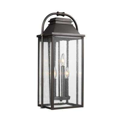 Wellsworth 3-Light Antique Bronze Outdoor Wall Lantern