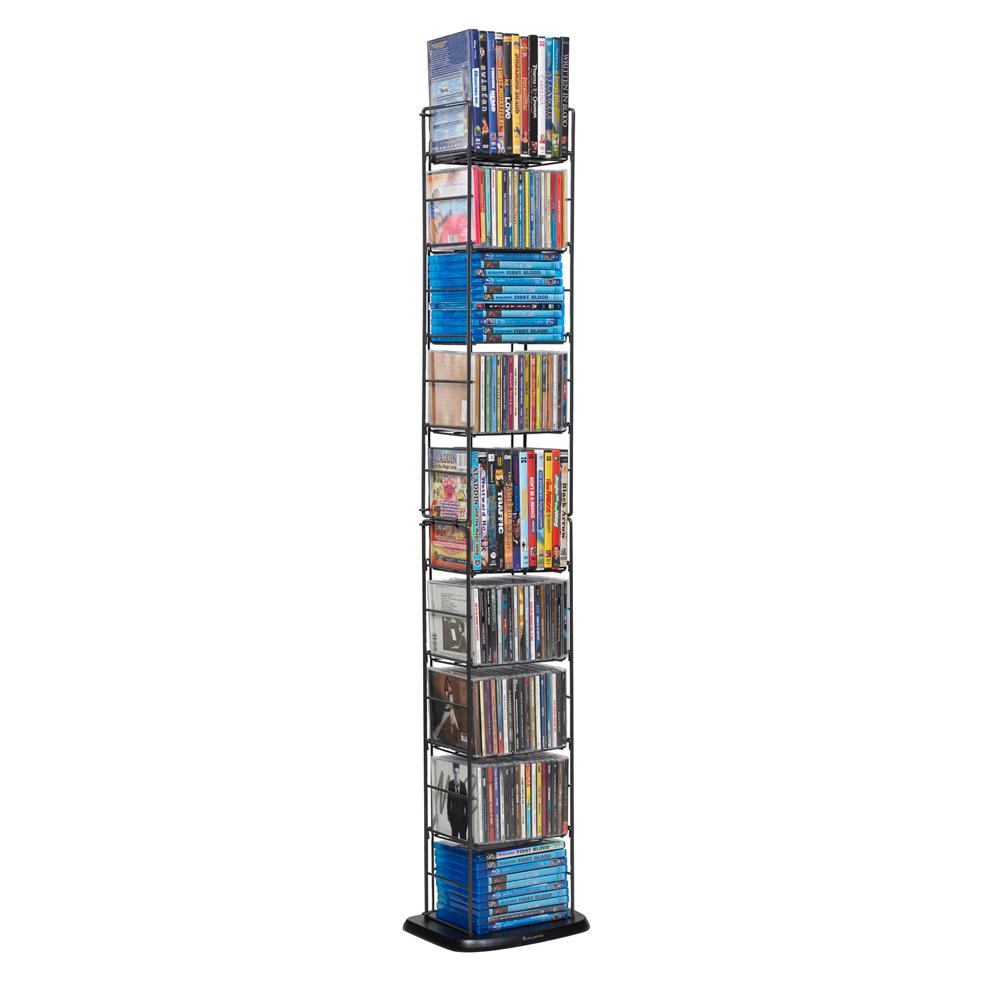Atlantic Black Media Storage Store and display your growing collection of movies and music. Use multiple units side by side. Keep your collections organized and protected from breakage. Color: Black.