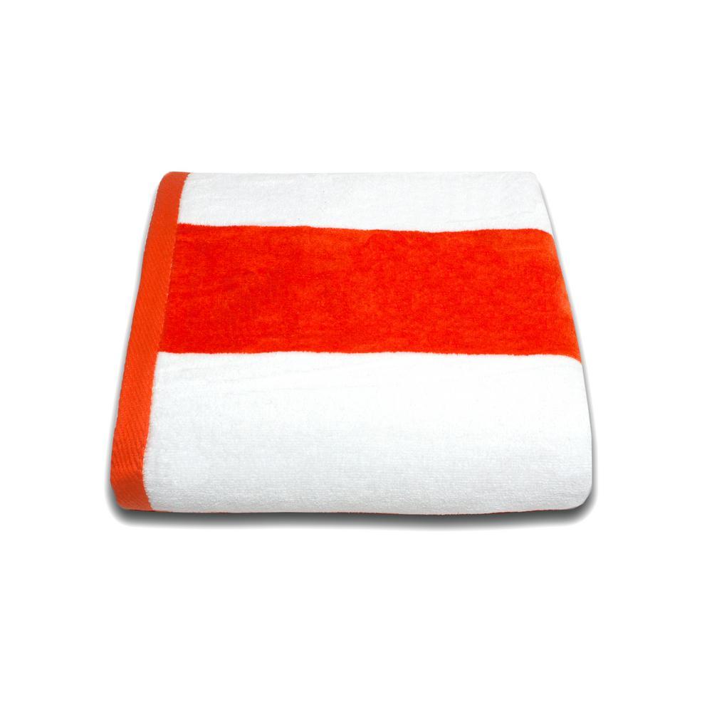 Tropical Cabana 100% Cotton Beach Towel in Orange