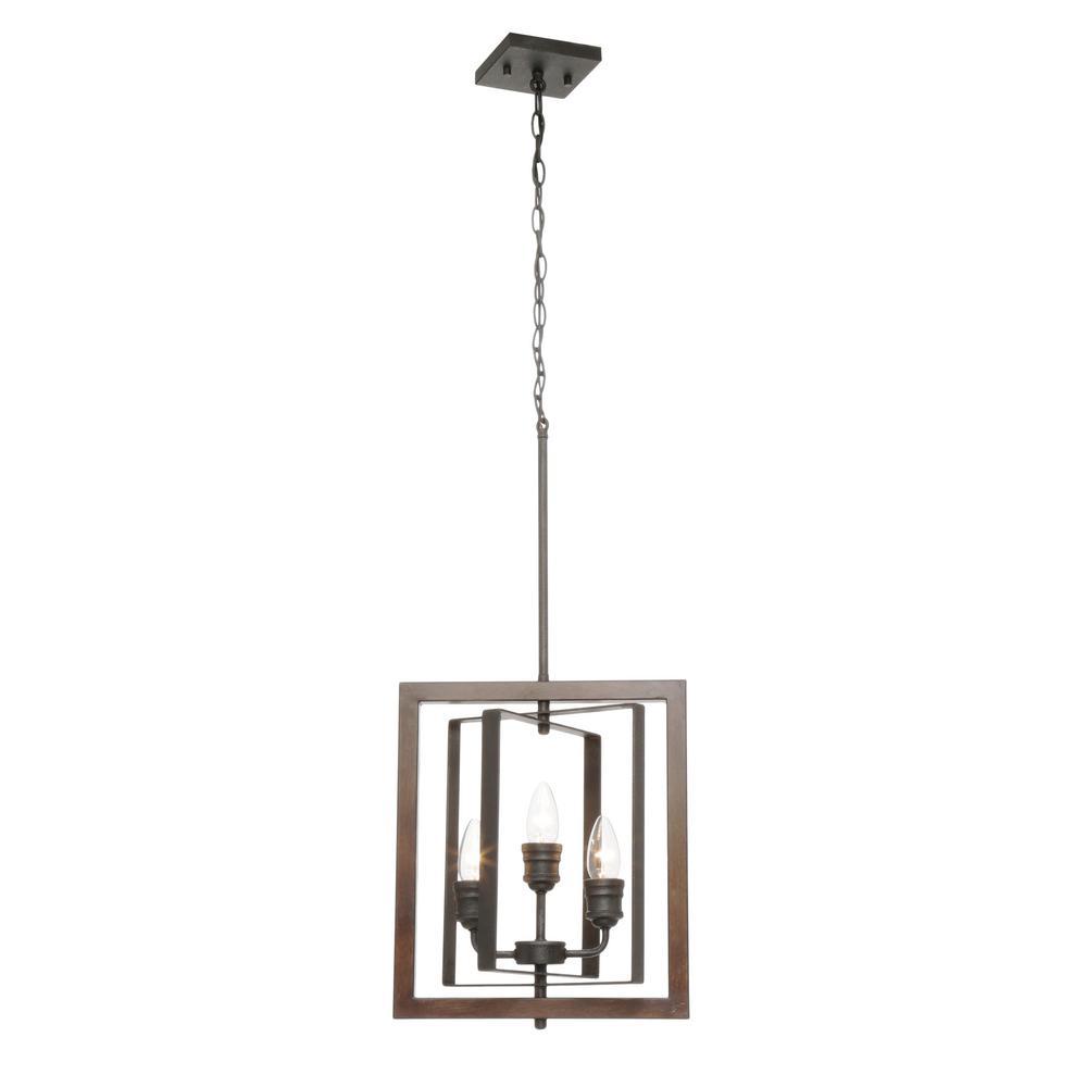 Palermo Grove 14 in. 3-Light Gilded Iron Pendant