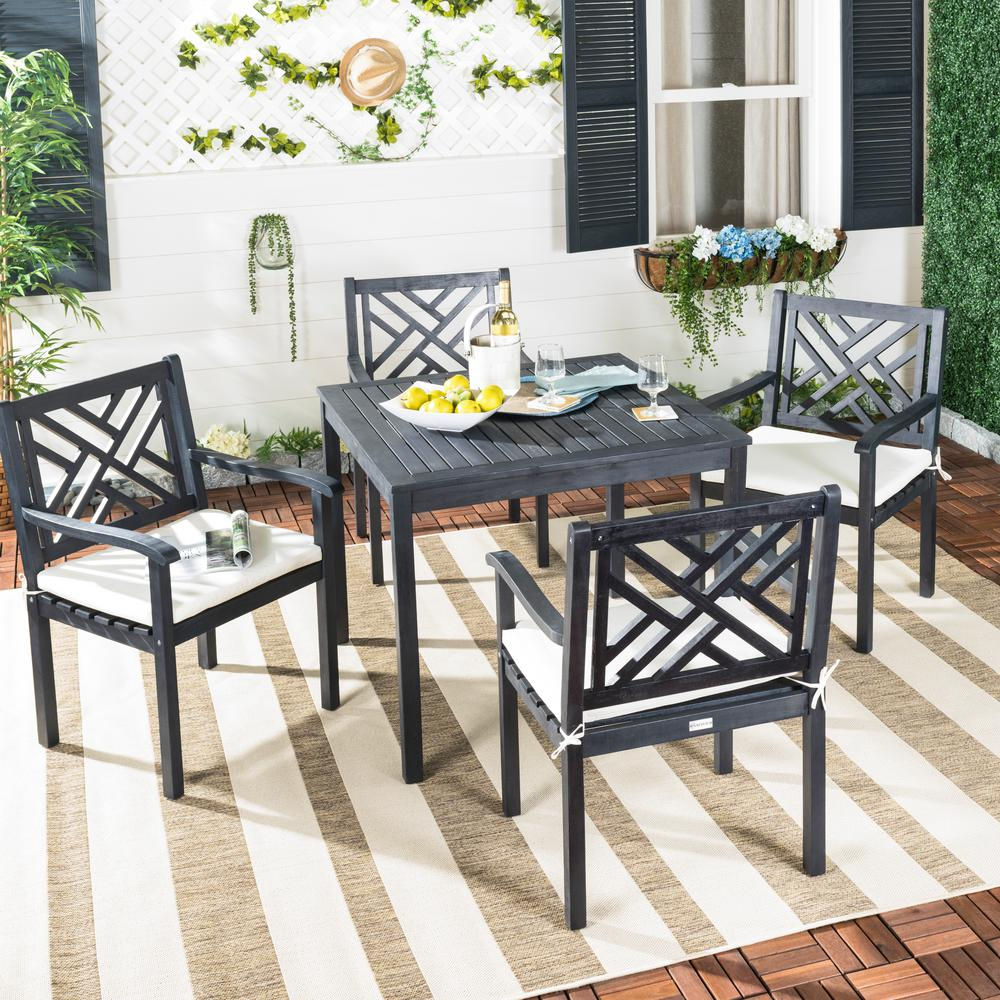 Safavieh Bradbury 5-Piece Dark Slate Gray Wood Patio Seating Set with Beige Cushions