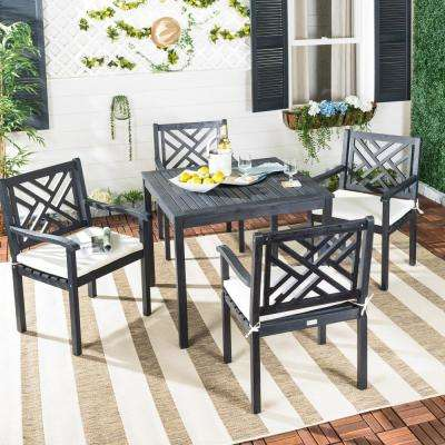 Bradbury 5-Piece Dark Slate Gray Wood Patio Seating Set with Beige Cushions