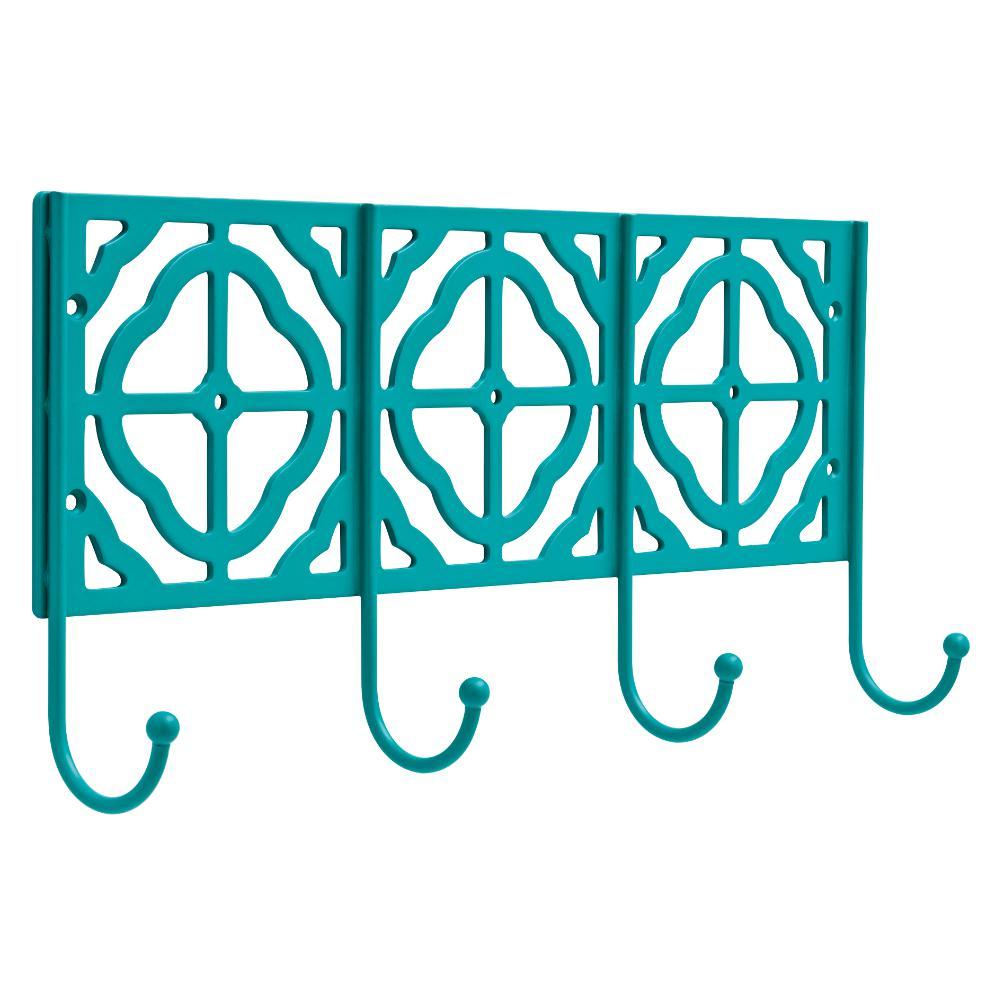 15-7/8 in. Teal Decorative Metal Ball End Hook Rack