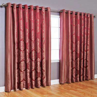 84 in. L Polyester Damask Jacquard Leaf Print Wide Curtain in Burgundy (2-Pack)