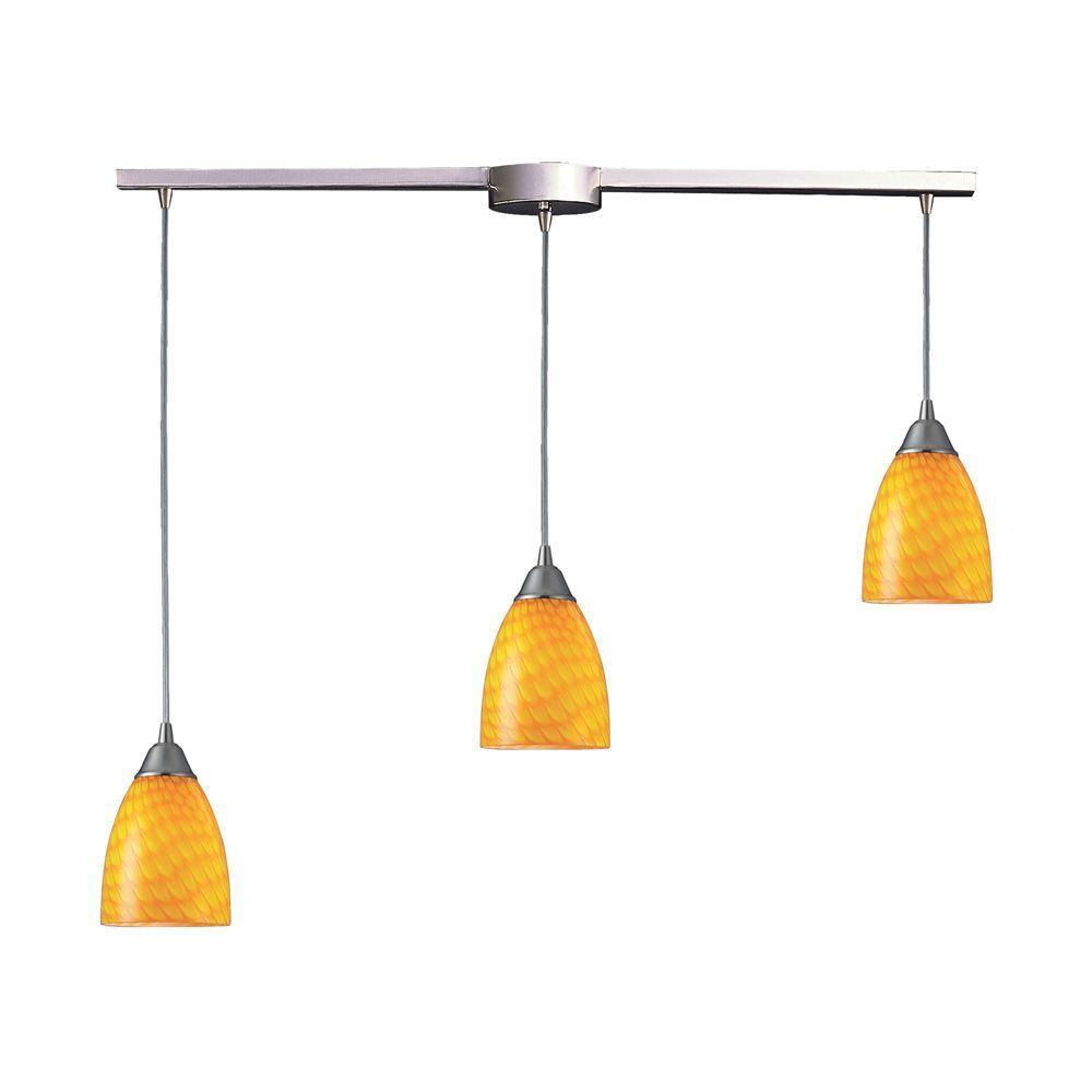 Arco Baleno 3-Light Satin Nickel Pendant with Canary Glass Shade