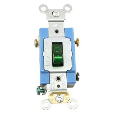 15 Amp Industrial Grade Heavy Duty Single-Pole Pilot Light Toggle Switch, Green