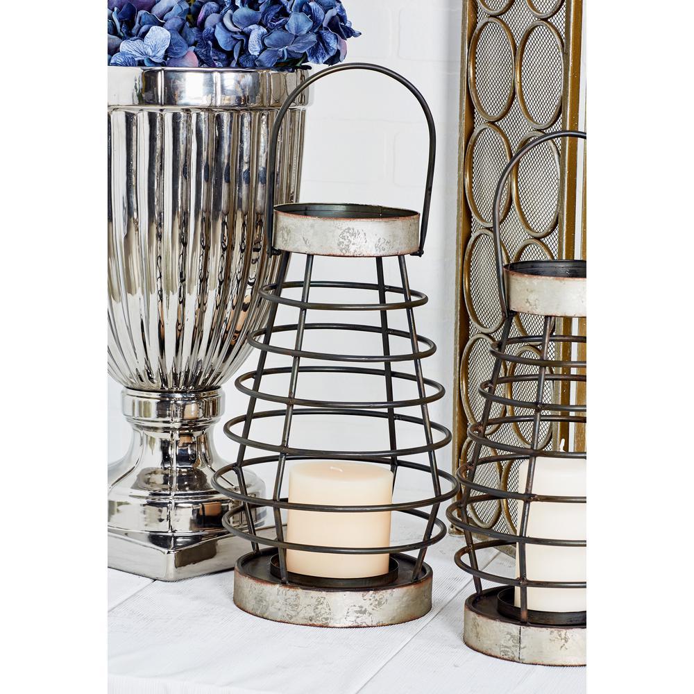 Litton Lane Gray Candle Lantern with Handle