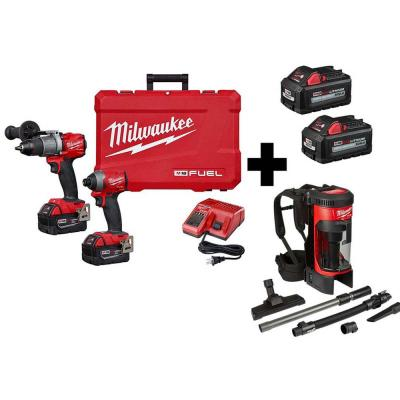 M18 FUEL 18-Volt Lithium-Ion Brushless Cordless Hammer Drill/Backpack Vacuum/Impact Driver with 4-Batteries