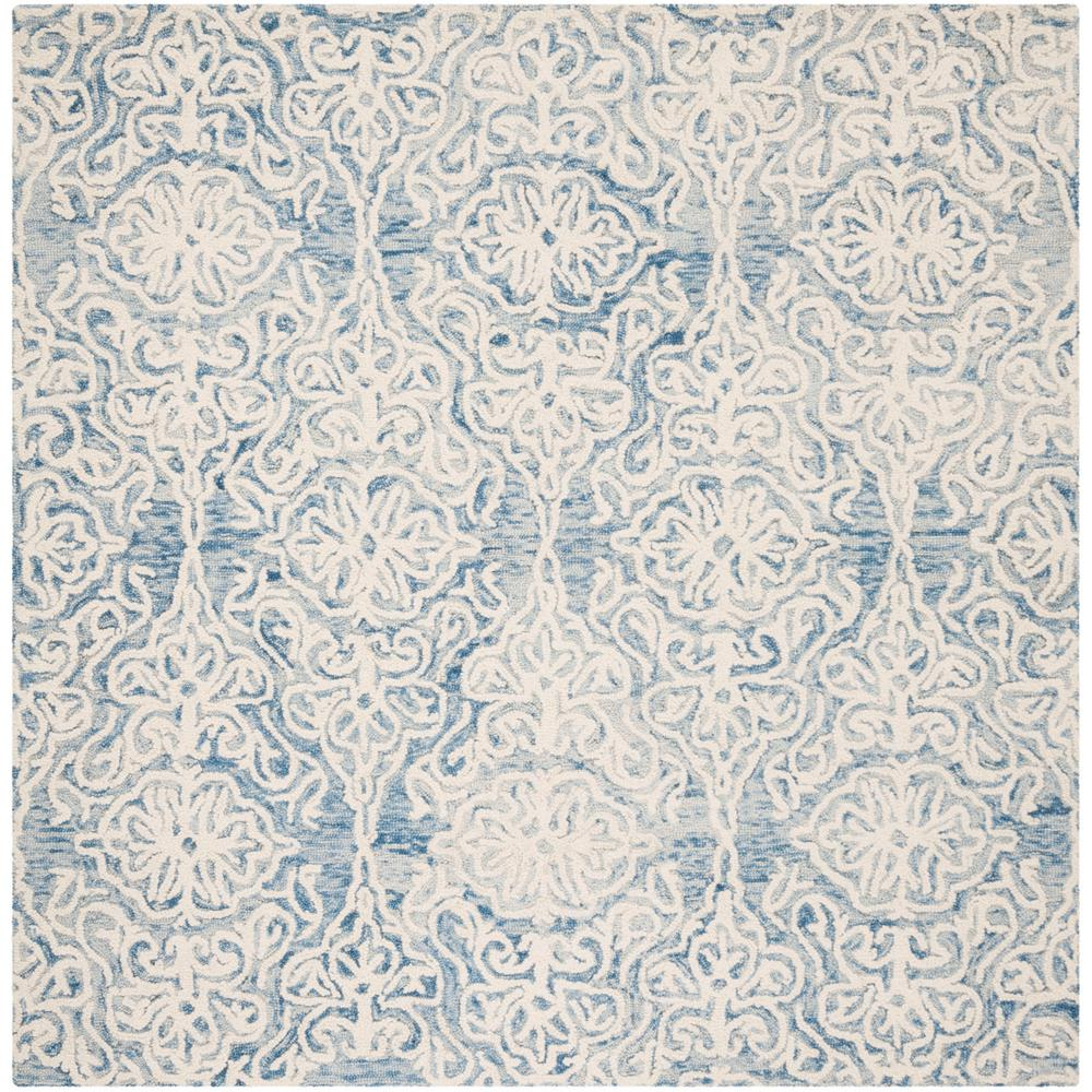 Safavieh Blossom Blue Ivory 6 Ft X 6 Ft Square Area Rug