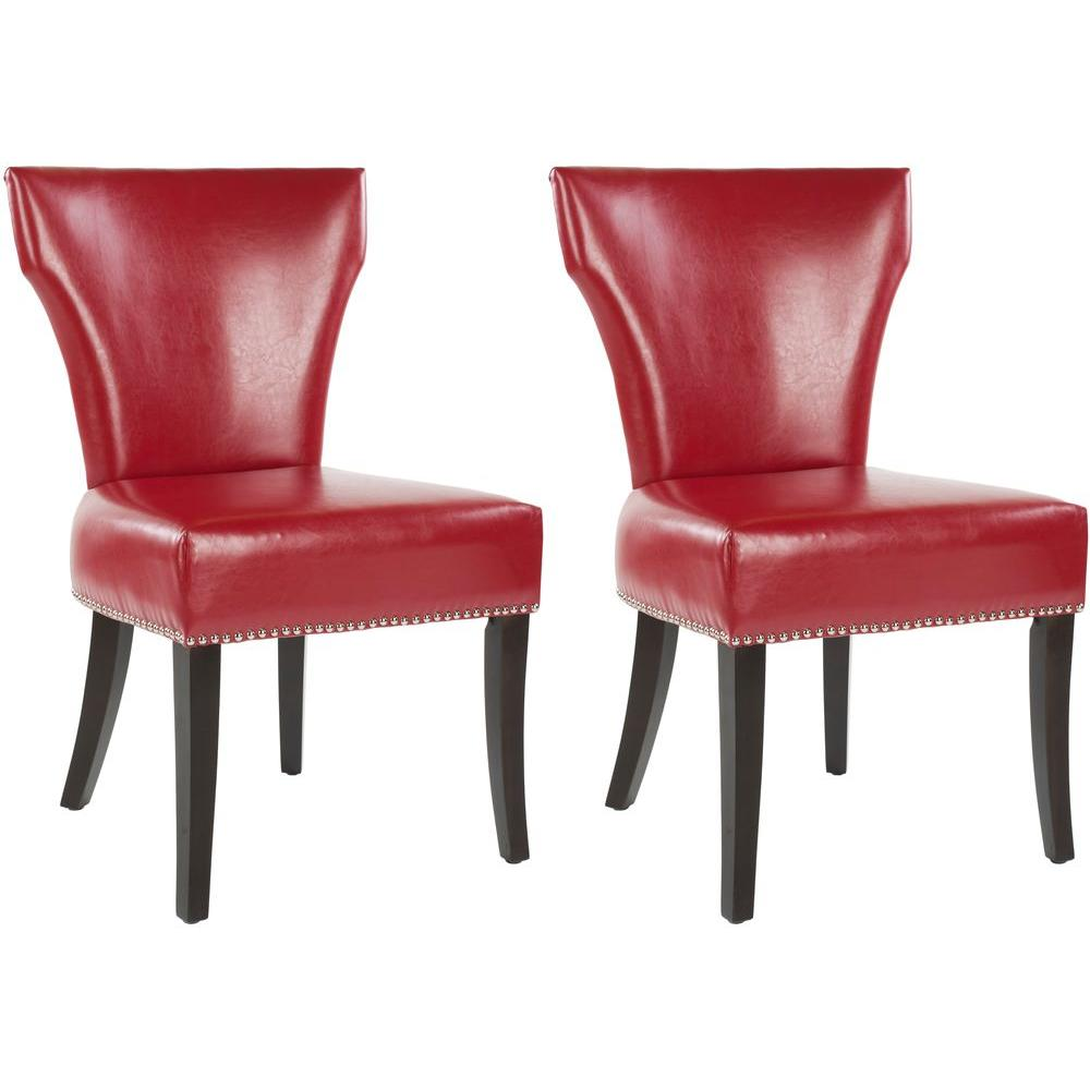 Delightful Safavieh Jappic Red/Espresso Bicast Leather Side Chair (Set Of 2)