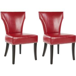 Safavieh Jappic Red/Espresso Bicast Leather Side Chair (Set Of  2) MCR4706D SET2   The Home Depot
