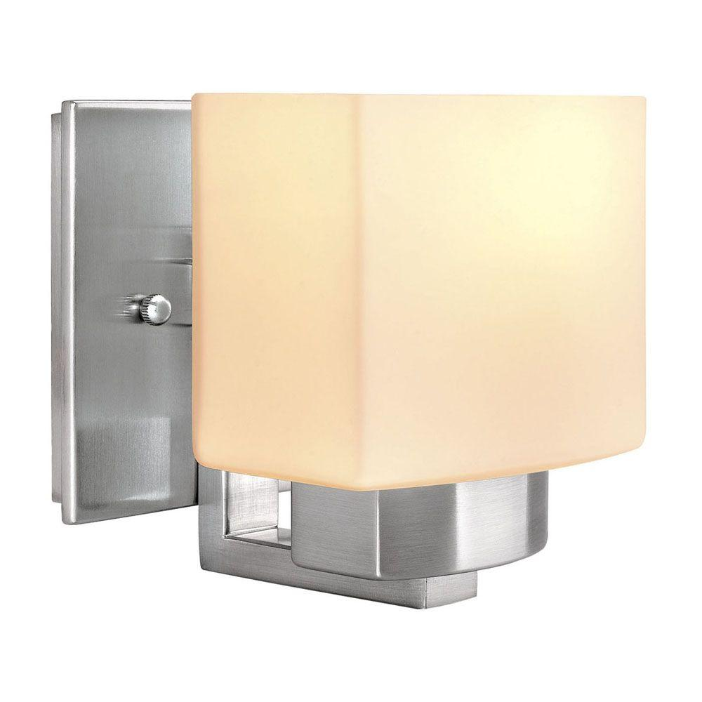 Sconces lighting the home depot 1 light brushed nickel sconce with frosted glass shade aloadofball Choice Image
