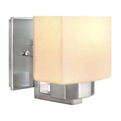 1-Light Brushed Nickel Sconce with Frosted Glass Shade