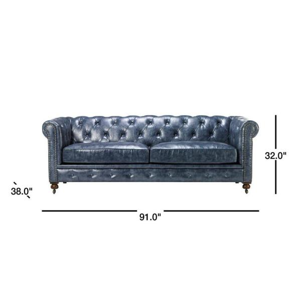 Home Decorators Collection Gordon Blue Leather Sofa-0849400310 - The Home Depot